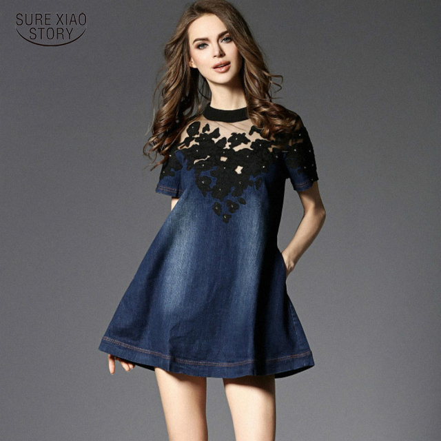 fashion Europe 2017 new female denim dress thin cotton short sleeved Summer Spring slim pure color navy blue women dress 178B 25