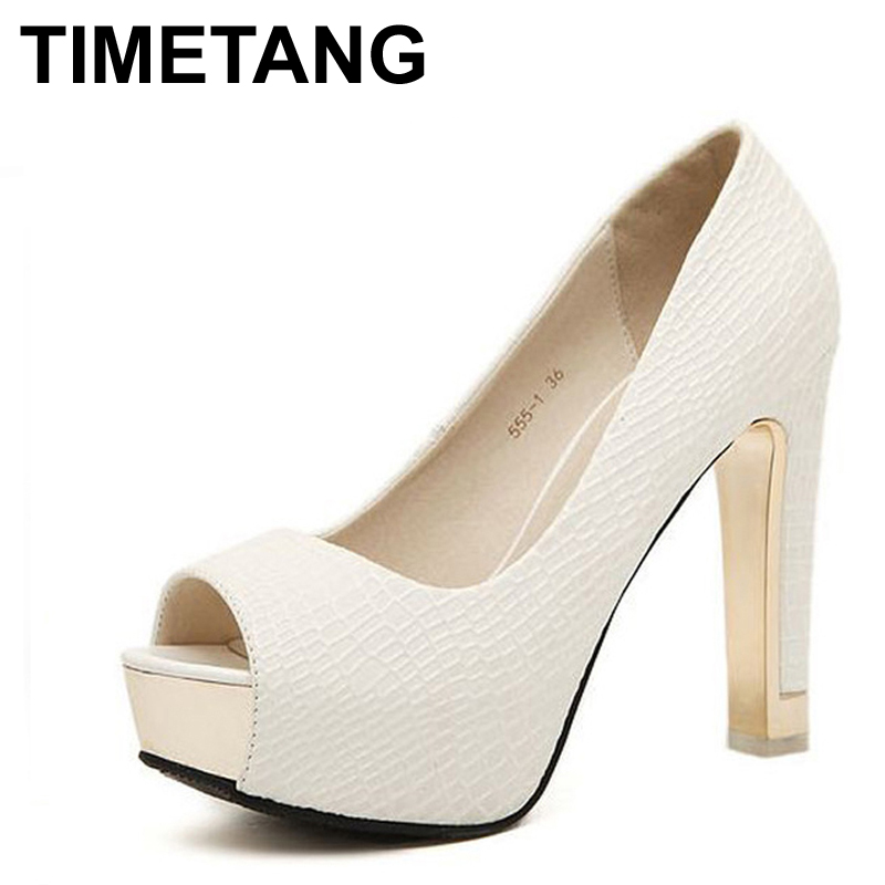 TIMETANG High quality summer sping sexy fashion peep simple sandals all-match rough simple pumps women square high heels shoes all summer long