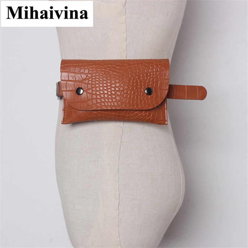 Mihaivina Pu レザー女性のためのワニ口ウエストパック女性旅行ベルト財布カジュアルヒップベルトミニ電話財布