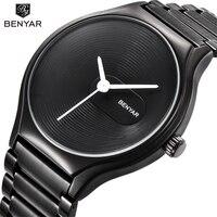 BENYAR Black Quartz Watch Men Women Brand Luxury Simple Watches Fashion Casual Waterproof 30M Lovers Watch