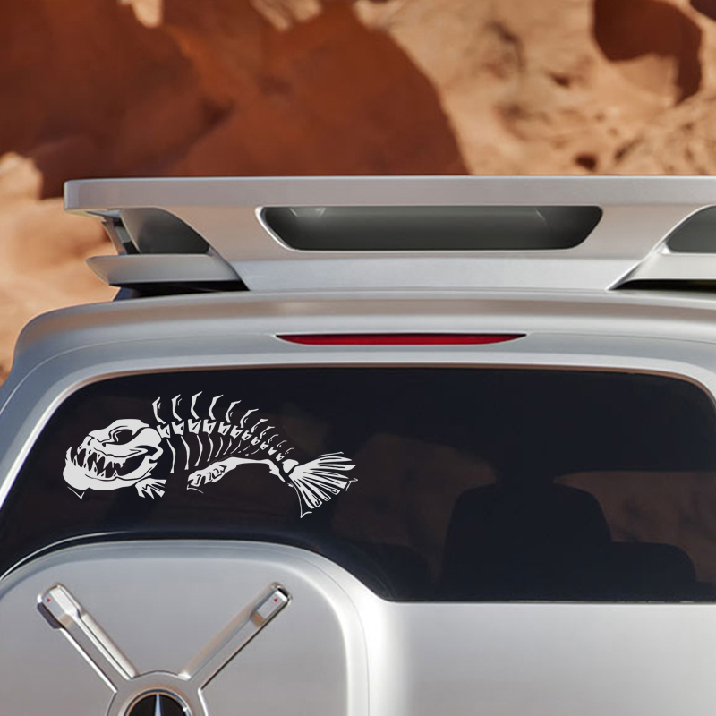 21 6 18 7CM 1Pair Skeleton Fish Door Decoration Decals Classic Stylish Car Styling Stickers Accessories in Car Stickers from Automobiles Motorcycles
