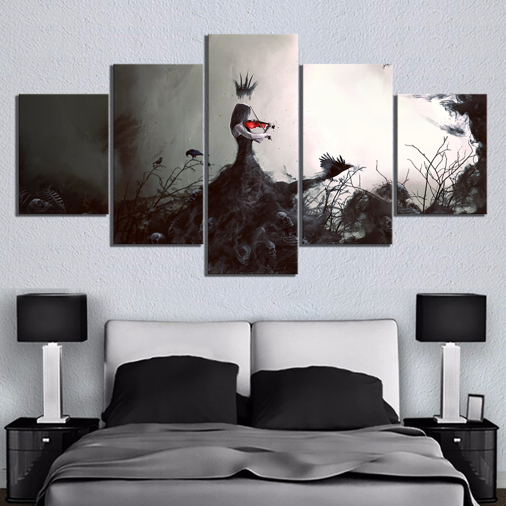 5 Piece Abstract Art Paintings Woman Playing The Violin Pictures Artwork Canvas Art Wall Paintings for Bedroom Wall Decor 2