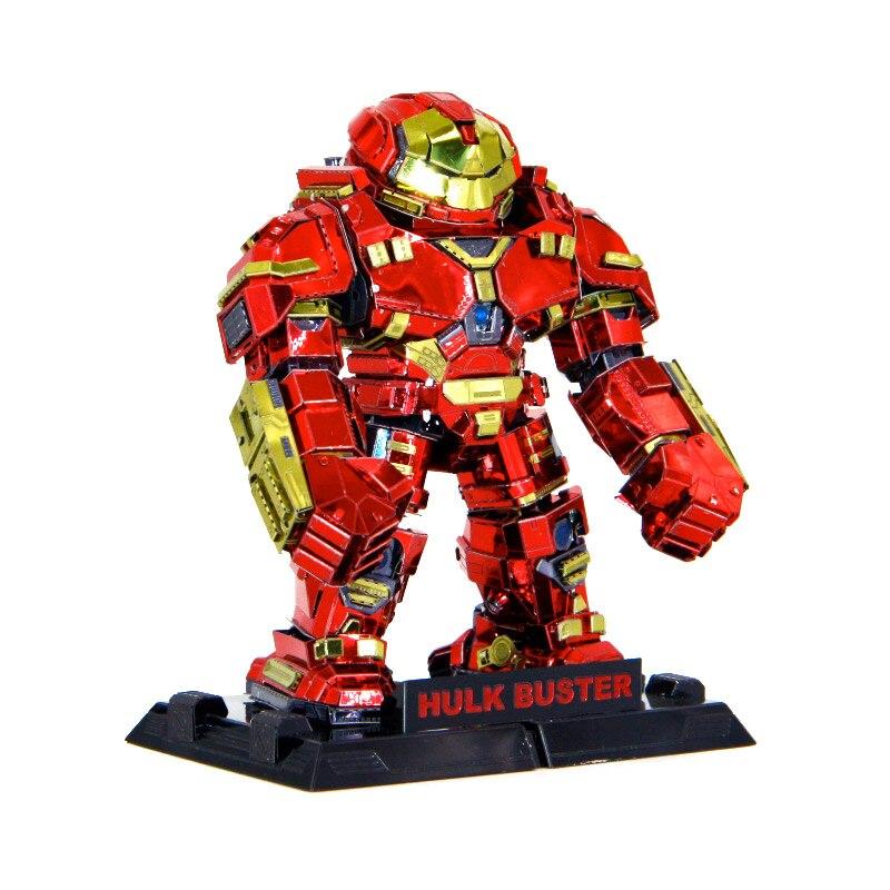 Cor Hulk Buster 3d Jigsaw Puzzle Modelo Manual de Corte A Laser de Metal Kits Adultos Coleção Figuras de Ação Brinquedos Educativos Passatempos