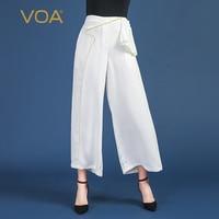 VOA белый женские офисные широкие брюки эластичный пояс Broeken мотобрюки для женщин Повседневное Palazzo костюм Pantolon spodnie Femal осень K851