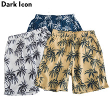 Dark Icon Coconut Tree Full Print Hawaii Style Mens Shorts 2019 Summer Beach Men Casual Blue Yellow White