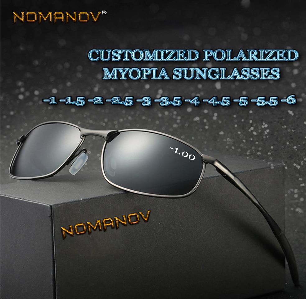 Al-mg сплав Щит мужчины Женщины поляризованные солнцезащитные очки на заказ близорукость минус рецептурные линзы-от 1 до 6