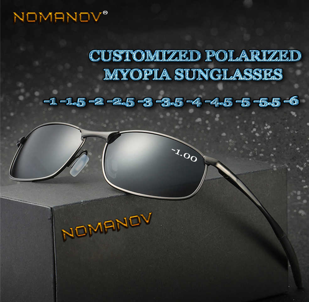 Al-mg Alloy Shield men women polarized sun glasses polarized sunglasses Custom Made Myopia Minus Prescription Lens -1 to -6