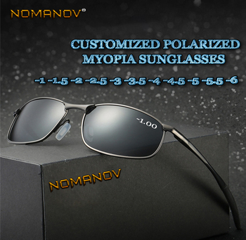 Al - mg Alloy Shield ผู้ชายผู้หญิง polarized sun แว่นตา polarized แว่นตากันแดด Custom Made สายตาสั้น Minus เลนส์ - 1-6