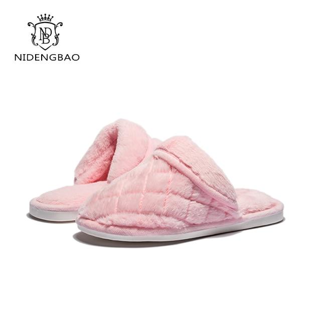 b7274522c NDB Winter Cotton Women s House Slippers Soft Cozy Plush Fleece Slip On Memory  Foam Indoor shoes Warm Light Women Flip Flops