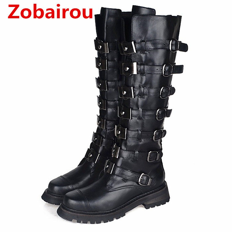 Zobairou Chaussure Femme Genuine Leather Back Zip Overknee Thigh High Cowboy Boots Motorcycle Boots Botas Mujer Shoes Woman