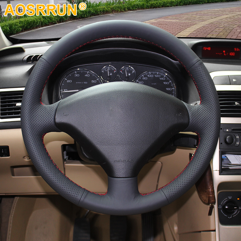 AOSRRUN Black Artificial Leather Car Steering Wheel Cover For Peugeot 307 Car accessories