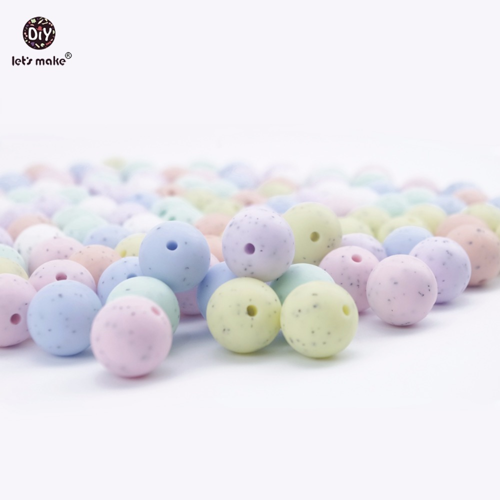 Let's Make Baby Teether Chewable Round Beads 200PCS 15mm Silicone Sesame Candy Colors DIY Nursing Accessories Beads Teether