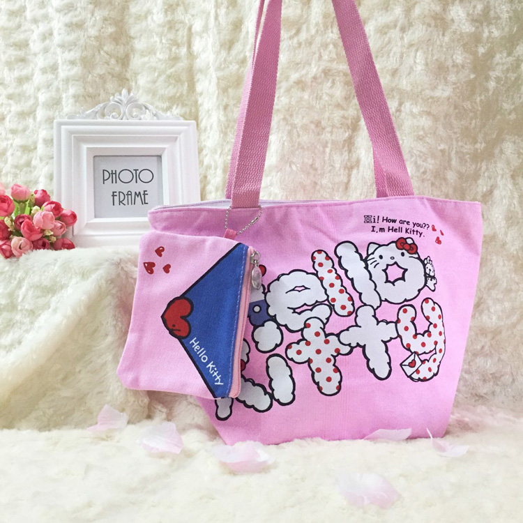 Kawaii Hello Kitty Bag Cats Canvas Shopping Bag Handbags Beach Foldable  Folding Grocery Bags kitty Large Eco Cartoon Tote Bags-in Shopping Bags  from Luggage ... dba952144101b