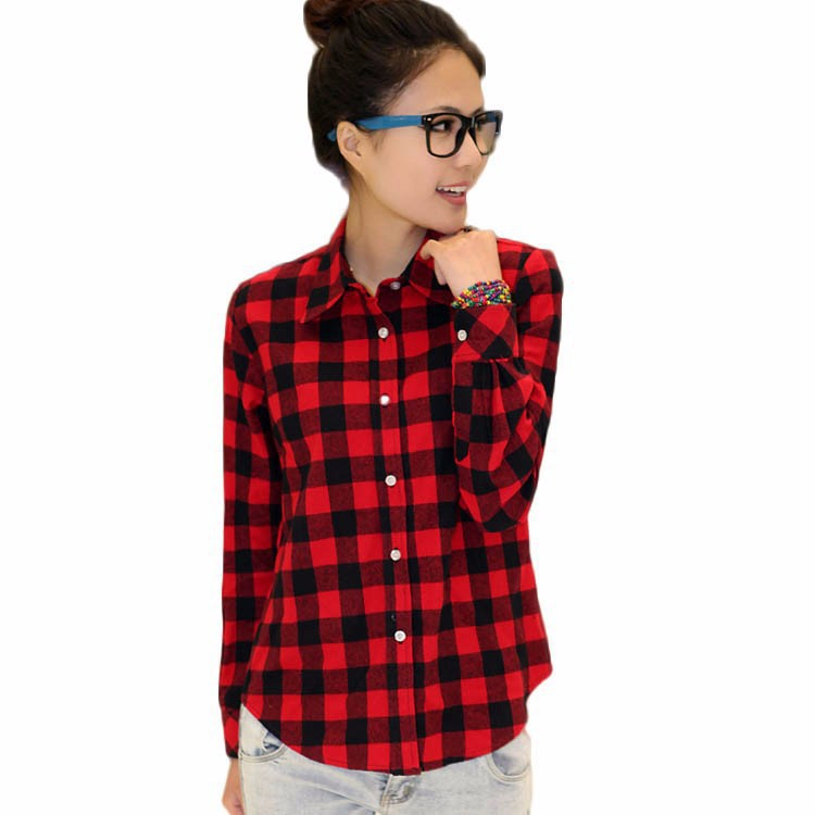 Fashion 2015 Autumn Red and Black Plaid Shirt Womens British Long ...