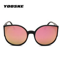 YOOSKE Vintage Round Cat Eye Sunglasses Women Brand Eyeglasses Retro Female Coating Mirror Sun Glasses Driving Goggles