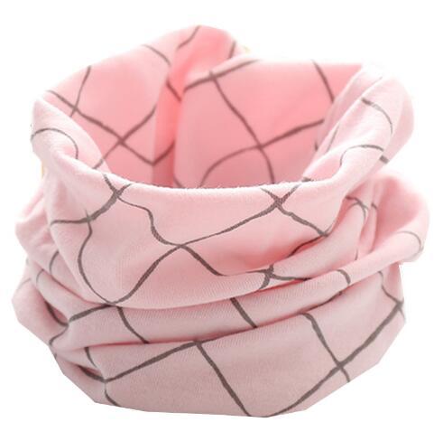 Новинка; сезон осень-зима; шарф из хлопка для девочек; Детский шарф; нагрудный шарф для мальчиков и девочек с круглым кольцом; милый детский шарф с воротником; Bufandas - Цвет: pink grid