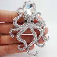 Pretty Elegant Octopus Clear Rhinestone Crystal Silver-plated Brooch Pins Pendant Unique Gifts for girl
