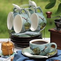 British European Hand Painted Coffee Cup Saucer Set China Tea Ceramic Elegant Beker Porcelein Decoration Teacups WKE225