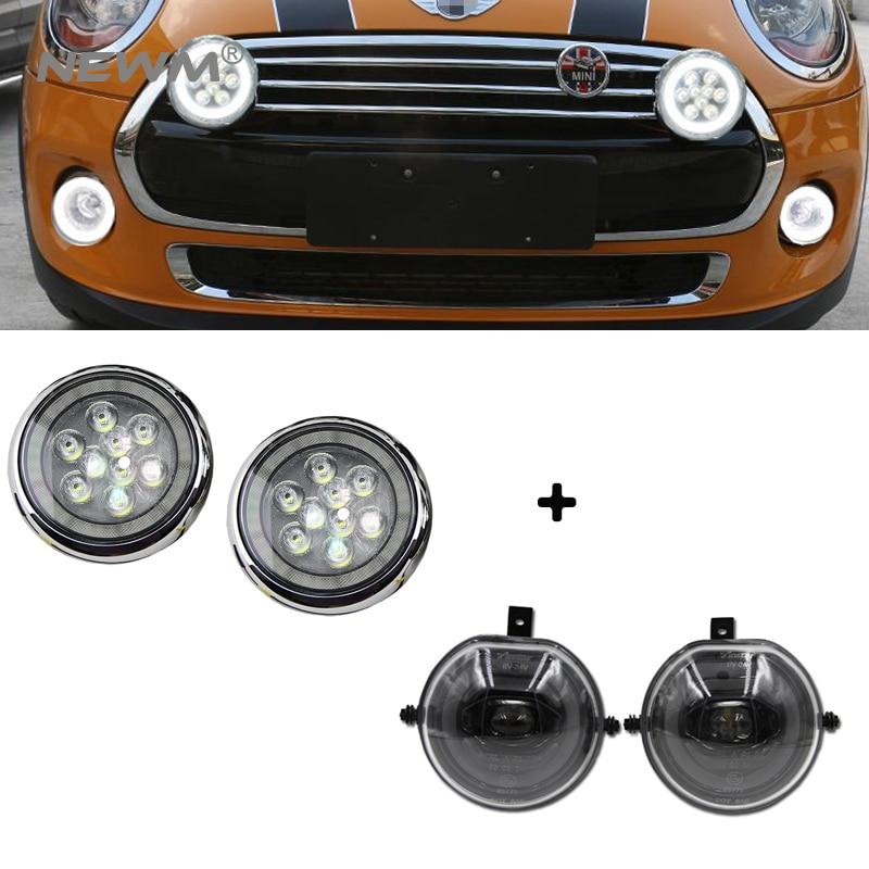 E4 Full LED Halo Ring DRL Parking Fog Light Kit Silver Black Led Rally Light For