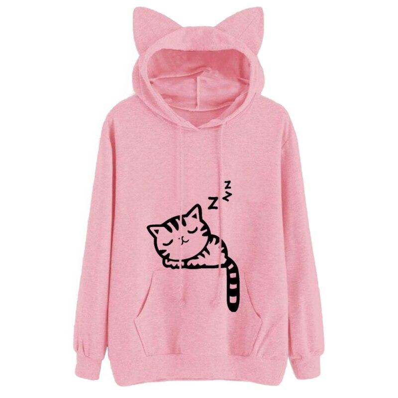 Cat Ear Printed Women Hooded Coat Sweatershirt Sleep Cat Printed Autumn Long Sleeve Pullovers Outwear Womens
