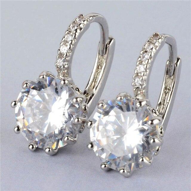 Fashion Silver Plated Earring Luxury Zircon Austrian Crystal Hoop Earrings For Elegant Women Wedding Bridal