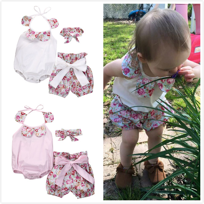 3 Pcs Newborn Toddled Girls Floral Bodysuits+Shorts Bottoms Bow Headband Outfits Sunsuit 0-24M Girl Summer Clothes Set