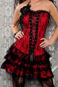 Nuevo estilo de encaje rojo vestido de corsé, corsé de cuerpo completo, vestidos corsé gótico M1605