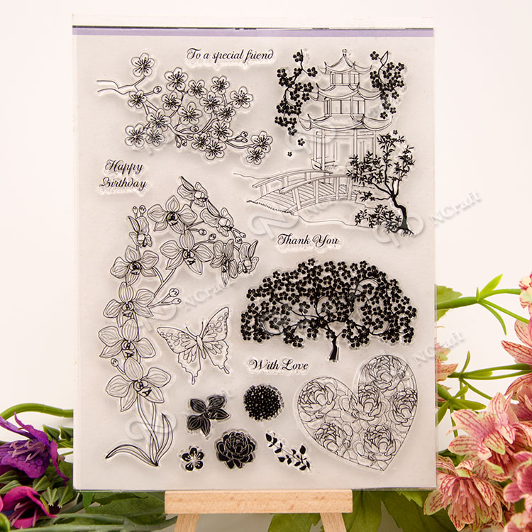 Pavilions and trees Transparent Clear Silicone Stamp/Seal for DIY scrapbooking/photo album Decorative clear stamp sheets lovely animals and ballon design transparent clear silicone stamp for diy scrapbooking photo album clear stamp cl 278