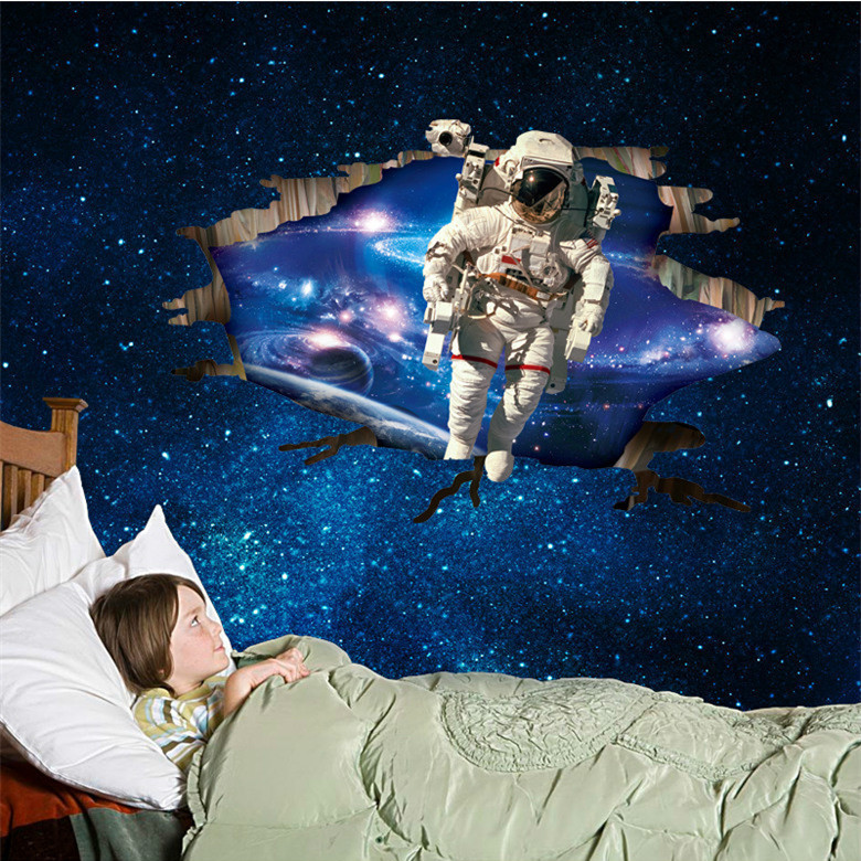 Latest 3D Astronaut Wallpaper Poster Dream Walling In The Space Wall  Stickers Home Decor In Guys Room Decal Sticker On Wall In Wall Stickers  From Home ...