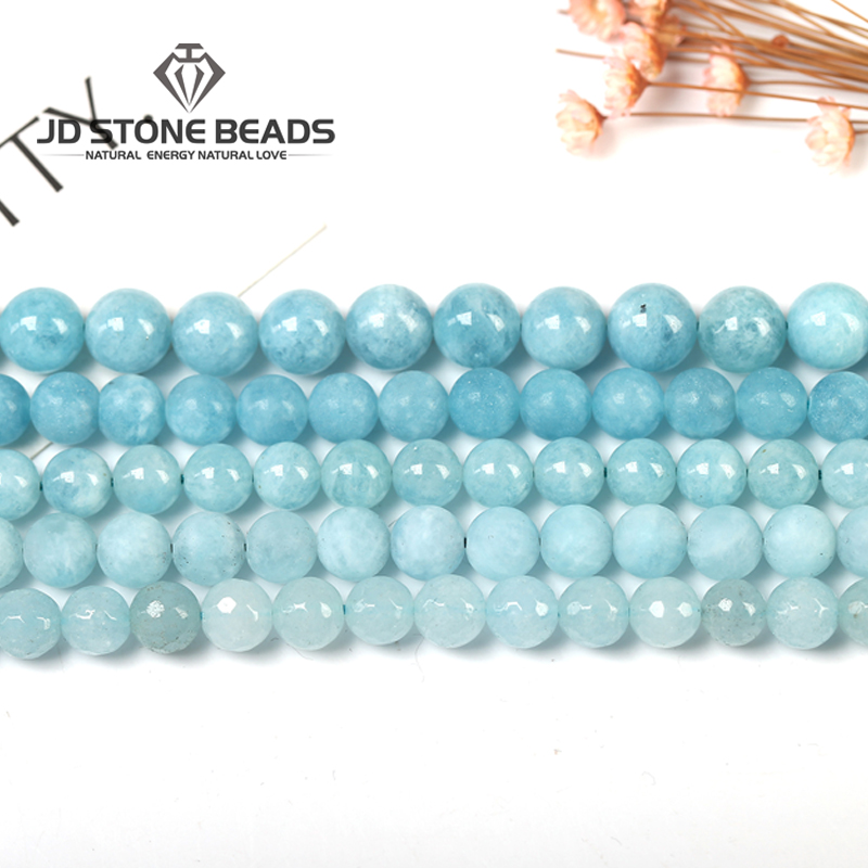 4Colors  Aquamarine Stone Matte Round Loose Gemstone For Jewelry Making Bracelet Necklace 15inches/strand 6/8/10/12mm
