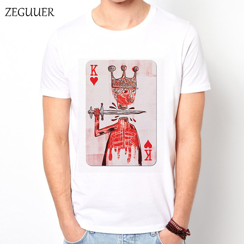 Jean Michel Basquiat King Playing Card  Tshirt Tshirt Men Streetwear Funny T Shirts Print Wind Cotton Round Neck Casual Clothes