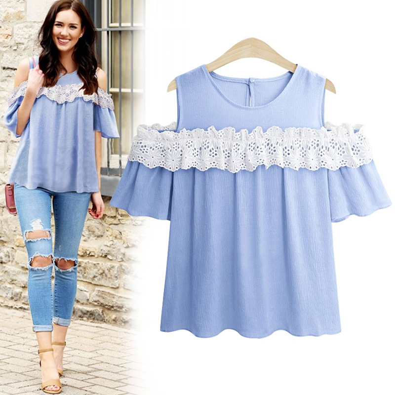 Mikialong Off Shoulder Summer Tops Women Blouses 2018 Blue Pink Short Sleeve Chiffon Blouse Plus Size Lace Patchwork Blusa Mujer ...