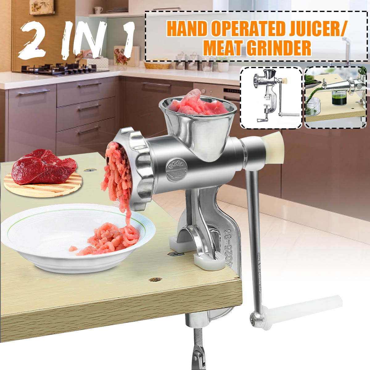 2 In 1 Hand Operated Juicer Food Meat Grinder Household Manual Juice Squeezer Press Extractor Meat Fruit Vegetable Wheatgrass