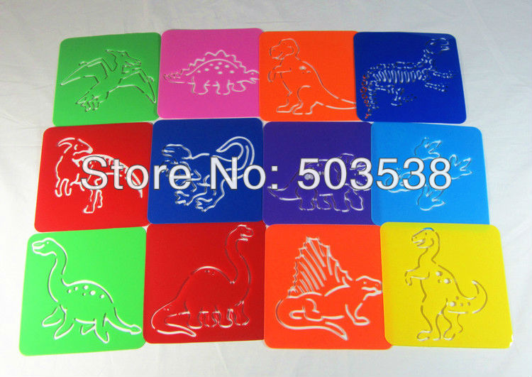 12PCS LOT Dinosaur stencil Art template Birthday gift Kindergarten toy PP drawing stencils Dinosaur crafts 12