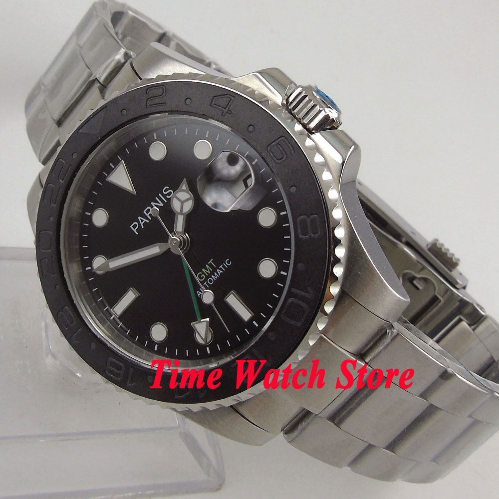 Parnis 40mm black dial sapphire glass brushed ceramic bezel date GMT Automatic movement Mens watch men 875Parnis 40mm black dial sapphire glass brushed ceramic bezel date GMT Automatic movement Mens watch men 875