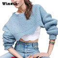 Wimuzz 2016 Chic Short Sweater for Women Autumn and Winter Ruffles Vogue Pull Femme Oversized Sexy Pullovers and Jumpers