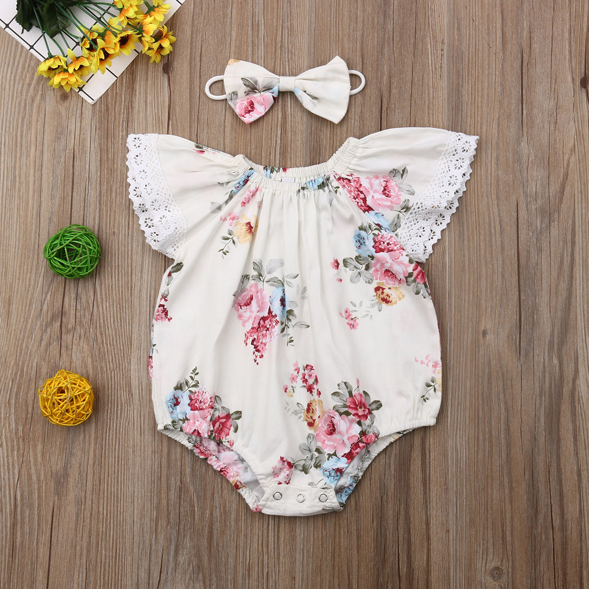 Emmababy 2019 Newest Newborn Baby Girl Clothes Sleeveless Flower Print Lace Ruffle Romper Headband 2Pcs Outfits Summer Clothes