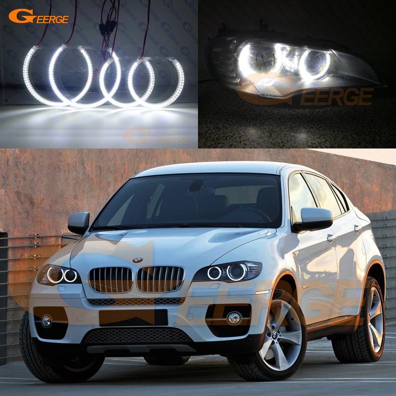 For BMW X6 E71 E72 X6M E70 X5M 2008-2014 Xenon headlight Excellent Ultra bright illumination smd led Angel Eyes kit DRL for bmw e60 e61 lci 525i 528i 530i 535i 545i 550i m5 xenon headlight excellent drl ultra bright smd led angel eyes kit