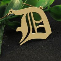 18K Golden Customized Necklaces 925 Sterling Silver D Letter Necklace Personalized Engraved Necklace With Box Chain