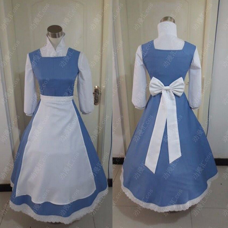Adult princess belle anime beauty and the beast cosplay costumes blue color plus size costume bella