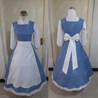 Adulto principessa belle anime bellezza e la bestia costumi cosplay colore blu plus size costume bella cameriera vestito per le donne cosplay