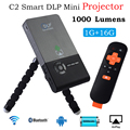 Portátil Mini Projetores C2 Projetor DLP Full HD 1080 P 1000 Lumens HD 1 GB + 16 GB para Home Theater PC Laptop Jogos de Vídeo de TV Da Família