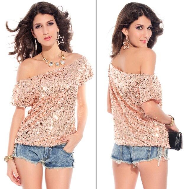 50e138736fe84 New Seductive Off-shoulder Glistening Sequin Top Pink loose shirt drop  shipping