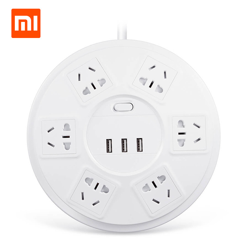 Original xiaomi mijia breakthrough lightning 6 bit patch panel with USB home plug overload protection smart