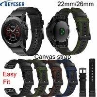 ניילון רצועת השעון 22mm 26mm עבור Garmin Fenix 5/5 בתוספת smart watch מהיר שחרור להקת בד רצועת עבור garmin Fenix 3/3HR Wristbelt