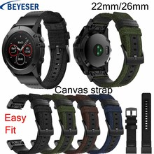 Nylon Watchband 22mm 26mm for Garmin Fenix 5/5Plus smart watch Quick Release Band Canvas Strap For 3/3HR Wristbelt