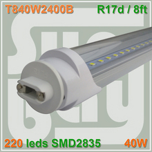 4pcs/lot LED TUBE 2400MM 8ft 2.4m 40W R17D 110V replace existing fluorescent fixture Milky Clear cover available
