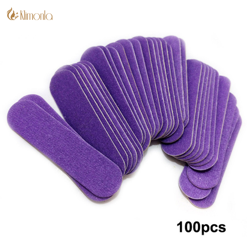100pcs/lot Purple Mini Wood Nail File Disposable Sanding Files Buffing Nail Limas Para Manicura Pedicure Manicure Care Tools