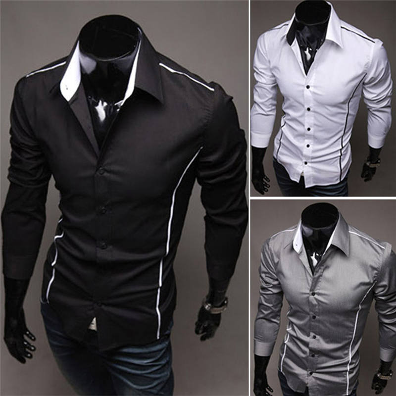 b3af82d1 Mens Casual Shirts Dress Formal Shirts Unique Neckline Stripe Long Sleeve  Shirt Suit Clothing Fashion 0005-in Casual Shirts from Men's Clothing on ...