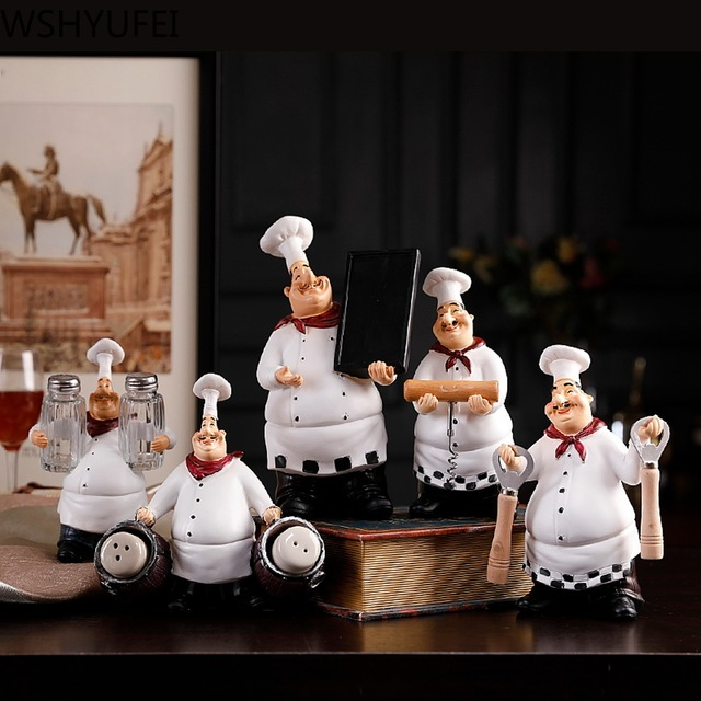 1pcs Chef model home decoration resin crafts figurine kitchen home decoration bottle opener spice jar wine rack seasoning bottle 2